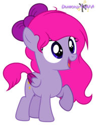 Size: 1712x2256 | Tagged: artist:diamond-chiva, bow, female, filly, hair bow, oc, oc:musical star, pegasus, pony, safe, simple background, solo, transparent background