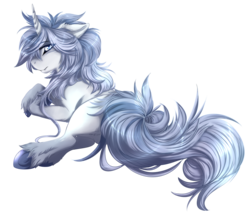 Size: 1491x1297 | Tagged: safe, artist:requiem♥, oc, oc only, oc:ezekiel, pony, unicorn, blue eyes, blue mane, chest fluff, colored hooves, curved horn, cute, cute little fangs, ear fluff, fangs, fluffy, hooves, horn, long mane, long tail, looking at you, looking back, looking back at you, male, on side, rear view, simple background, solo, stallion, transparent background, underhoof, unshorn fetlocks, white fur