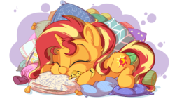 Size: 3840x2160 | Tagged: artist:pirill, cheek fluff, chibi, cute, cutie mark, ear fluff, eyes closed, female, gecko, hnnng, pillow, pony, ray, safe, shimmerbetes, sleeping, smiling, solo, sunset shimmer, sunset shimmer day, unicorn, weapons-grade cute