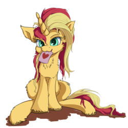 Size: 2500x2500 | Tagged: artist:coldtrail, female, heart, mare, pony, safe, simple background, sunset shimmer, sunset shimmer day, transparent background, unicorn