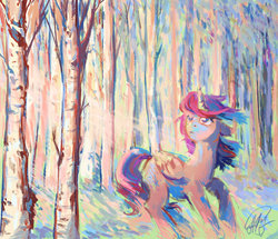 Size: 1600x1373   Tagged: safe, artist:malinetourmaline, twilight sparkle, alicorn, pony, female, forest, mare, solo, tree, twilight sparkle (alicorn)