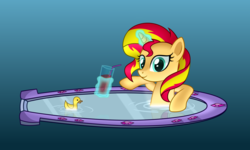 Size: 5248x3145 | Tagged: artist:mirrorcrescent, bath, drink, equestria girls, female, glowing horn, levitation, magic, mirror, pony, portal, rubber duck, safe, smiling, solo, straw, sunset shimmer, sunset shimmer day, telekinesis, water