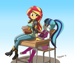 Size: 1280x1096 | Tagged: angry, artist:jeglegator, book, boots, bracelet, clock, clothes, desk, equestria girls, female, friendship games, jacket, jewelry, lesbian, necklace, rainbow rocks, safe, shipping, shoes, sonata dusk, sunata, sunset shimmer, sunset shimmer day, unamused