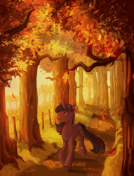 Size: 2041x2668 | Tagged: safe, artist:jellynut, twilight sparkle, pony, unicorn, fall weather friends, 42, autumn, falling leaves, female, mare, running of the leaves, scenery, scenery porn, solo, tree, unicorn twilight