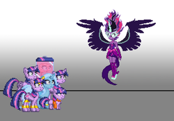 Size: 640x446 | Tagged: safe, artist:akumath, artist:botchan-mlp, edit, sci-twi, trixie, twilight sparkle, alicorn, genie, pony, unicorn, equestria girls, brain, brain in a jar, brainy twilight, cute, female, filly, human ponidox, lesbian, midnight sparkle, midnightabetes, multeity, pixel art, self ponidox, shipping, sparkle sparkle sparkle, twiabetes, twilight sparkle (alicorn), twixie, unicorn twilight