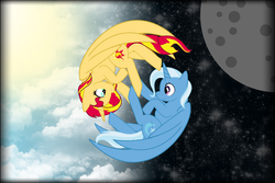 Size: 1024x683 | Tagged: alicorn, alicornified, artist:chibinekogirl102, base used, female, full moon, lesbian, moon, pony, race swap, safe, shimmercorn, shipping, split screen, sunset shimmer, suntrix, trixie, trixiecorn