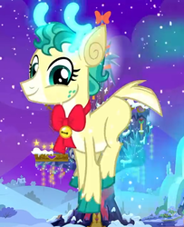 Size: 512x630   Tagged: safe, screencap, alice the reindeer, deer, reindeer, best gift ever, antlers, cloven hooves, colored hooves, cropped, female, flying, glowing antlers, looking at you, reindeer antlers, smiling, solo, twilight's castle