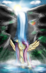 Size: 2596x4084 | Tagged: artist:qbellas, cute, female, fluttershy, pegasus, pony, safe, shyabetes, solo, waterfall