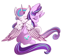 Size: 1500x1352 | Tagged: safe, artist:hagallaz, princess flurry heart, starlight glimmer, alicorn, pony, unicorn, cute, female, filly, hug, mare, older, older flurry heart, simple background, transparent background, winghug