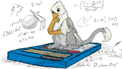 Size: 2154x1234 | Tagged: safe, artist:tinibirb, artist:xeirla, oc, oc only, oc:der, griffon, calculator, colored, equation, male, math, micro, sketch, solo