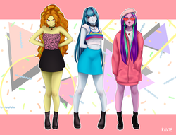 Size: 3793x2904 | Tagged: safe, artist:rileyav, adagio dazzle, aria blaze, sonata dusk, equestria girls, 80s, alternate hairstyle, boots, choker, clothes, collar, cute, dress, female, glasses, hands behind back, hoodie, jewelry, legs, looking at you, midriff, miniskirt, necklace, pose, retro, shoes, skirt, smiling, sunglasses, the dazzlings, trio