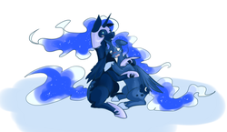 Size: 1353x786   Tagged: safe, artist:bluecrow, nightmare moon, princess luna, alicorn, pony, crying, duality, duo, ethereal mane, female, hoof shoes, hug, jewelry, mare, regalia, self ponidox, simple background, starry mane, white background