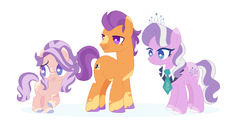 Size: 1016x512 | Tagged: safe, artist:onedayhm, diamond tiara, tender taps, oc, oc:platinum taps, earth pony, pony, alternate design, base used, blaze (coat marking), colored hooves, family, female, filly, male, offspring, older, older diamond tiara, older tender taps, parents:tendertiara, shipping, simple background, straight, tendertiara, white background