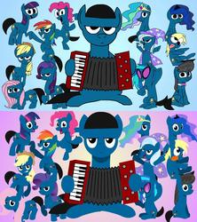 Size: 1280x1440   Tagged: safe, artist:animatedjames, artist:viva reverie, applejack, derpy hooves, dj pon-3, fluttershy, octavia melody, pinkie pie, princess celestia, princess luna, rainbow dash, rarity, trixie, twilight sparkle, vinyl scratch, oc, oc:animatedjames, alicorn, earth pony, pegasus, pony, unicorn, brony polka, accordion, black outlines, comparison, female, gradient background, lineless, male, mane six, mare, musical instrument, stallion, youtube thumbnail