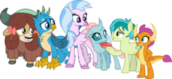 Size: 6438x3000 | Tagged: safe, artist:cloudyglow, gallus, ocellus, sandbar, silverstream, smolder, yona, changedling, changeling, classical hippogriff, dragon, earth pony, griffon, hippogriff, pony, yak, the hearth's warming club, beak, bow, claws, cloven hooves, cutie mark, dragoness, female, hair bow, horn, jewelry, male, monkey swings, necklace, open mouth, paws, raised hoof, simple background, smiling, stallion, standing, student six, teenager, transparent background, vector, wings