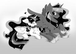 Size: 1280x911 | Tagged: dead source, safe, artist:hioshiru, princess luna, twilight sparkle, alicorn, pony, constellation, cute, eyes closed, female, grayscale, grooming, heart, hnnng, lesbian, manga, monochrome, preening, shipping, simple background, twilight sparkle (alicorn), twiluna, white background