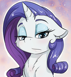 Size: 2172x2348 | Tagged: safe, artist:alcor, rarity, pony, unicorn, abstract background, blushing, bust, cheek fluff, chest fluff, cute, ear fluff, eyeshadow, female, floppy ears, fluffy, lidded eyes, looking down, makeup, mare, rarity is not amused, solo, unamused