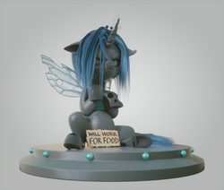 Size: 960x814 | Tagged: safe, artist:v747, queen chrysalis, changeling, changeling queen, nymph, pony, 3d, angry, crossed arms, cute, cutealis, female, filly, filly queen chrysalis, foal, gradient background, grumpy, madorable, sitting, solo, text, will x for y, younger