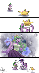 Size: 2550x4800   Tagged: safe, artist:tadpoledraws, spike, twilight sparkle, alicorn, dragon, pony, anthro, angry, anthro with ponies, barb, bowsette, clothes, comic, crown, denied, dress, female, horn, jewelry, male, mare, open mouth, regalia, rule 63, signature, simple background, skirt, smack, smiling, spikette, super crown, transformation, twilight is not amused, twilight sparkle (alicorn), unamused, white background, wings