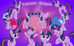 Size: 5000x3090 | Tagged: safe, artist:pilot231, twilight sparkle, alicorn, pony, unicorn, adorkable, cannon, cheering, clothes, collection, crown, cute, dork, dress, gala dress, gradient background, happy, jewelry, multeity, regalia, royal wedding, singing, sparkle sparkle sparkle, spread wings, starry eyes, twiabetes, twilight sparkle (alicorn), unicorn twilight, wingding eyes