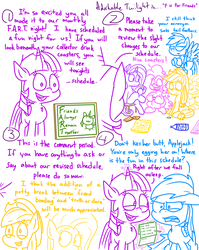 Size: 1280x1611 | Tagged: adorkable, adorkable twilight, alicorn, applejack, artist:adorkabletwilightandfriends, chalkboard, comic, comic:adorkable twilight and friends, cute, dork, drink, earth pony, fluttershy, friends, friendship, humor, lineart, mane six, pegasus, pinkie pie, pony, rainbow dash, rarity, safe, schedule, silly, sitting, slice of life, snacks, twilight sparkle, twilight sparkle (alicorn), unicorn