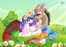 Size: 2500x1779 | Tagged: safe, artist:amanddica, discord, princess celestia, border, chest fluff, day, dislestia, female, flower, flowing mane, looking at each other, male, missing accessory, prone, shipping, signature, straight, sunshine, wing fluff, wingding eyes