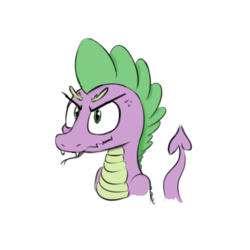 Size: 550x550 | Tagged: safe, artist:firenhooves, spike, forked tongue, simple background, solo, tongue out, white background