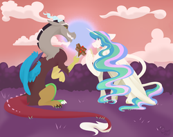 Size: 3600x2861 | Tagged: safe, artist:cyanreef, discord, princess celestia, alicorn, pony, bouquet, cake, cloud, dislestia, female, food, hoof fluff, hooves, horn, lineless, male, mare, missing accessory, shipping, smiling, straight, teeth, wings
