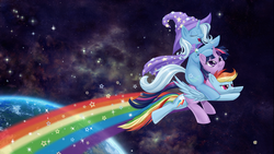 Size: 1920x1080   Tagged: safe, artist:dstears, rainbow dash, trixie, twilight sparkle, pegasus, pony, unicorn, annoyed, cape, clothes, earth, eyes closed, female, flying, frown, grumpy, hat, horn, lidded eyes, mare, ot3, pile, ponies in space, ponies riding ponies, ponies riding ponies riding ponies, pony pile, portal (valve), rainbow trail, riding, space, space core, trail, trixie's cape, trixie's hat, wallpaper, wings