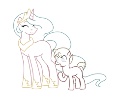 Size: 992x792 | Tagged: colt, determination, duo, female, foal, lineart, male, mare, oc, oc:max mustang, pony, princess celestia, race swap, safe, simple background, transparent background, unicorn, unicorn celestia