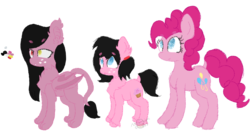Size: 1693x915 | Tagged: artist:moonlightdisney5, bat pony, cat pony, dark side, oc, oc:lunar, oc:moonlight, original species, pinkie pie, reference sheet, safe, simple background, transparent background
