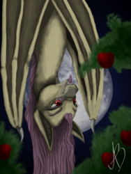 Size: 1024x1365 | Tagged: safe, artist:yumii-chan81, fluttershy, bat pony, pony, apple, female, flutterbat, food, mare, moon, obtrusive watermark, race swap, solo, tongue out, upside down, watermark, wing claws