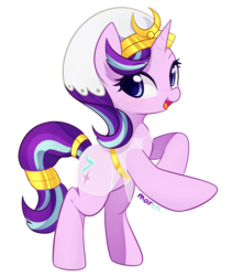 Size: 2289x2709 | Tagged: safe, artist:maren, starlight glimmer, pony, unicorn, clothes, clothes swap, cute, egyptian, female, glimmerbetes, high res, mare, open mouth, signature, simple background, smiling, solo, white background