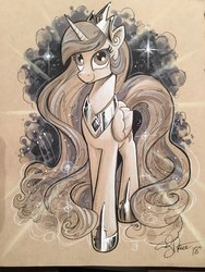 Size: 1536x2048 | Tagged: safe, artist:andypriceart, princess celestia, alicorn, pony, colored pencil drawing, female, hoof shoes, majestic, mare, marker drawing, monochrome, peytral, signature, smiling, solo, traditional art