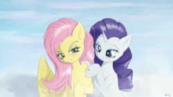 Size: 8000x4500 | Tagged: :3, artist:maneingreen, cheek fluff, chest fluff, cloud, ear fluff, female, flarity, fluttershy, lesbian, pegasus, rarity, safe, shipping, unicorn