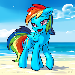 Size: 1500x1500 | Tagged: artist:kp-shadowsquirrel, beach, colored, color edit, edit, floppy ears, lidded eyes, open mouth, pegasus, pony, rainbow dash, raised hoof, safe, solo