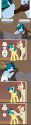Size: 1280x5082   Tagged: safe, artist:shinodage, oc, oc only, oc:apogee, oc:delta vee, oc:jet stream, pegasus, pony, ..., clothes, comic, delta vee's junkyard, dialogue, drinking, father and daughter, female, filly, head pat, hoof hold, male, mare, mother and daughter, necktie, pat, raised hoof, rocket engine, rocketdyne lr-79, speech bubble, stallion, wing hands