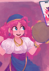 Size: 444x650 | Tagged: safe, artist:annyeong, pinkie pie, human, equestria girls, bandana, bracelet, card, clothes, ear piercing, earring, female, gypsy pie, humanized, jewelry, lipstick, looking at something, musical instrument, necklace, open mouth, piercing, poofy shoulders, shirt, skirt, smiling, solo, tambourine, tarot card, teeth