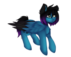 Size: 4000x3200 | Tagged: safe, artist:czywko, oc, oc only, oc:despy, pegasus, pony, bags under eyes, blind eye, chest fluff, colored wings, digital art, ear fluff, female, flying, full body, gift art, heterochromia, high res, mare, simple background, solo, transparent background, two toned wings, wings