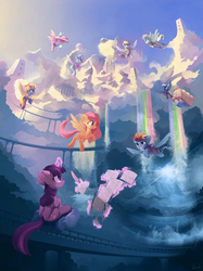 Size: 6000x8019 | Tagged: safe, artist:freeedon, cloudchaser, derpy hooves, fleetfoot, flitter, fluttershy, night glider, rainbow dash, spitfire, twilight sparkle, alicorn, pegasus, pony, absurd file size, absurd resolution, beautiful, belly button, city, clothes, cloud, cloudscape, cloudsdale, female, floppy ears, flying, goggles, magic, mare, open mouth, paper, quill, rainbow, rainbow waterfall, saddle bag, scenery, sitting, sky, smiling, twilight sparkle (alicorn), uniform, vertigo, wonderbolts uniform