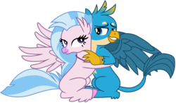Size: 8833x5160 | Tagged: absurd res, artist:ejlightning007arts, classical hippogriff, cute, female, gallstream, gallus, griffon, hippogriff, hug, male, paws, safe, shipping, silverstream, simple background, straight, transparent background, vector, what lies beneath, wings