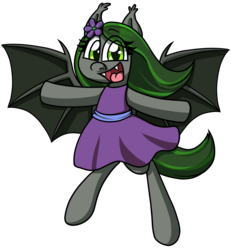 Size: 1776x1918 | Tagged: safe, artist:alittleofsomething, oc, oc only, oc:emerald notes, bat pony, pony, bipedal, clothes, dress, female, mare, open mouth, simple background, solo, transparent background