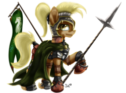 Size: 2484x1843 | Tagged: safe, artist:sintakhra, mjölna, armor pony, earth pony, pony, ask sandy pony, armor, banner, cape, cloak, clothes, crossover, eye shimmer, female, flag, greaves, helmet, leather armor, lord of the rings, plate armor, ponytail, rohan, rohirrim, shoes, simple background, solo, spear, transparent background, unshorn fetlocks, weapon