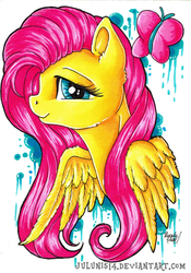 Size: 1024x1460 | Tagged: safe, artist:julunis14, fluttershy, butterfly, pegasus, pony, bust, cute, female, looking at you, mare, portrait, profile, shyabetes, smiling, solo, traditional art, wings