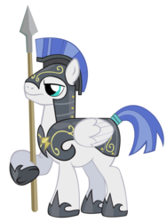 Size: 2225x2956 | Tagged: armor, artist:masterrottweiler, guard, hearth's warming eve (episode), helmet, male, pegasus, pegasus tribe, pony, safe, simple background, solo, spear, stallion, transparent background, weapon