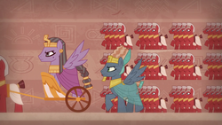 Size: 1280x720 | Tagged: army, braided tail, chariot, daring done?, egyptian, hieroglyphics, male, pegasus, pharaoh, pony, prince hisan, safe, screencap, soldier, stallion, trot like an egiptian