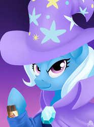 Size: 2000x2700 | Tagged: safe, artist:poecillia-gracilis19, trixie, candy, cape, clothes, cute, female, food, gradient background, hat, pun, solo, trixie's cape, trixie's hat, twix, visual pun