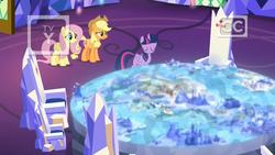 Size: 1920x1080 | Tagged: safe, screencap, applejack, fluttershy, twilight sparkle, alicorn, earth pony, pegasus, pony, sounds of silence, arimaspi territory, cutie map, dragon lands, female, friendship throne, griffonstone, mare, mount aris, peaks of peril, throne, twilight sparkle (alicorn), twilight's castle