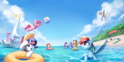 Size: 3000x1500 | Tagged: safe, artist:inowiseei, aloe, applejack, bon bon, derpy hooves, fluttershy, lotus blossom, lyra heartstrings, pinkie pie, rainbow dash, rarity, starlight glimmer, sweetie drops, twilight sparkle, alicorn, earth pony, pegasus, pony, unicorn, beach, beach ball, beach umbrella, boat, female, flower, flutterduck, hat, jumping, mane six, mare, ocean, palm tree, sailboat, spa twins, summer, sunglasses, swimming, tree, tube, twilight sparkle (alicorn), water