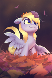 Size: 2682x4000 | Tagged: safe, artist:imalou, derpy hooves, pegasus, pony, autumn, cute, daaaaaaaaaaaw, derpabetes, female, floppy ears, fluffy, hnnng, leaves, looking up, mare, precious, sitting, smiling, solo, sweet dreams fuel, weapons-grade cute